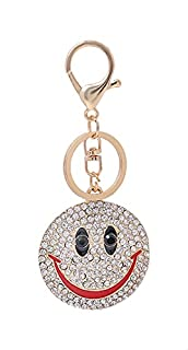 Premoda Metal Stone-Embellished Smiley Face Key Chain for Women - Gold