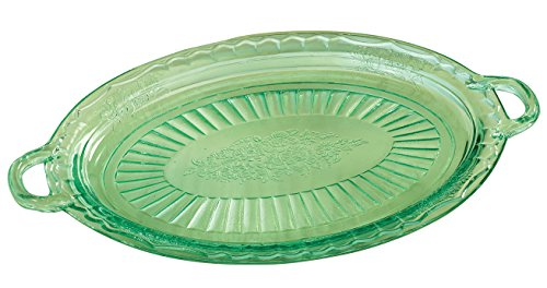 Fox Valley Traders Depression Style Glass Serving Platter, Classic Green