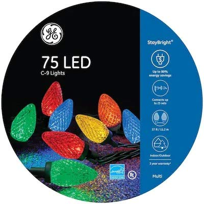 GE 75-Count LED C9 Multicolor 91145LO LED Staybright Christmas String Lights Energy Star