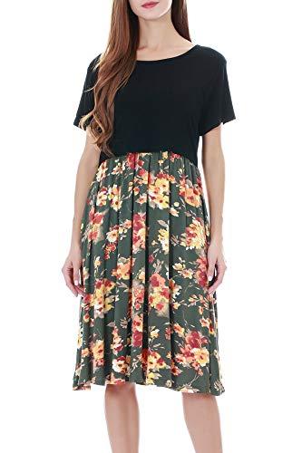 Smallshow Damen Umstandsmode Stillkleid Patchwork Umstandskleid Casual Kurzarm Schwangerschaft Umstands Kleid, Weißer Streifen, XL