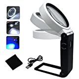 LED Magnifying Glass with Light and Stand Hands Free, Adjustable Folding Design Magnifier with LED Lighted, Portable Illuminated Magnifying Glass for Reading, Soldering, Hobbies (6X 25X(Round Lens))