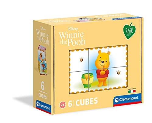 Clementoni Disney Winnie The Pooh, 3 anni-cubi da 6 pezzi-Play For Future, materiali 100% riciclati-Made in Italy, bambini, puzzle cartoni animati, Multicolore, 44012