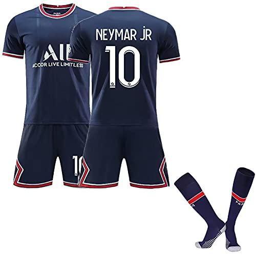 YLJXXY Herren Trikot, 2021 Second Away Trikot, Mbappé 7# / Neymar 10# Fußballtrikots, Kinder Fußballtrikot Sportanzug, T-Shirt + Shorts+ Socken