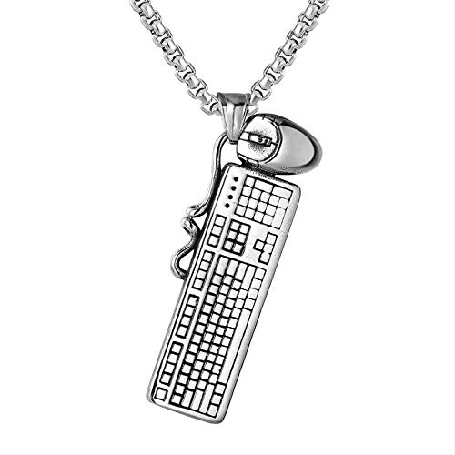 CCXXYANG Co.,ltd Necklace Charms Computer Keyboard Mouse Stainless Steel Antique Silver Color Pendants Making DIY Handmade Men Women Jewelry 60Cm