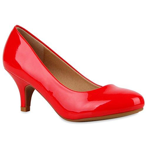 Klassische Damen Pumps Kitten Heels Lack Peeptoes Strass Glitzer Abend Braut Transparent Stilettos Schuhe 111561 Rot 38 Flandell