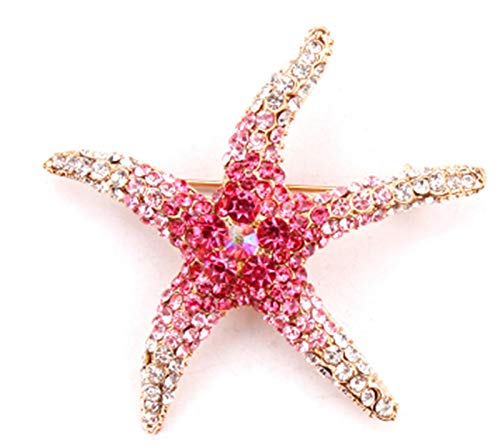 WanXingY Crystal Rhinestone Starfish Brooch Red And Blue Coat Zinc Alloy Crystal Fashion Brooch (Color : Red)