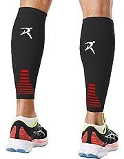Rymora Calf Compression Sleeves Men Women Shin Splints Running (Pair Black) (L)