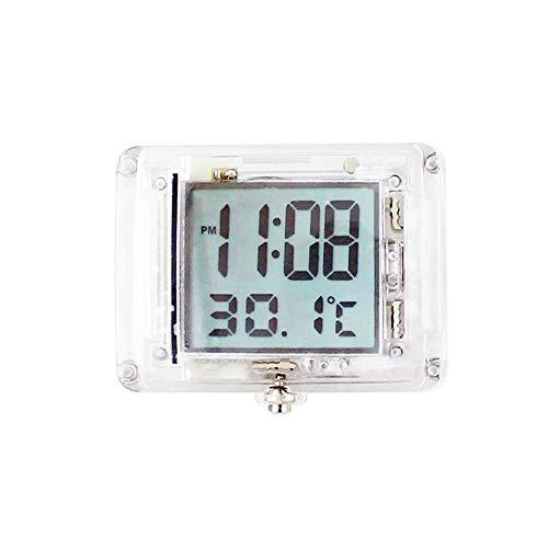 MOPOIN Motorraduhr, Mini Digitaluhr Motorrad Uhren Wasserdicht mit 12h Format Zeit und Temperaturanzeige für Auto Motorrad Fahrrad Badezimmer Küche