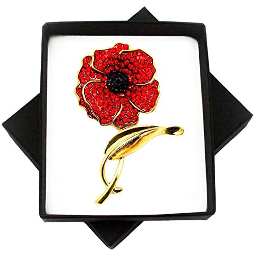 New Large RED Crystal Flower Gold Brooch PIN for Women in Black Presentation Box from UK Seller