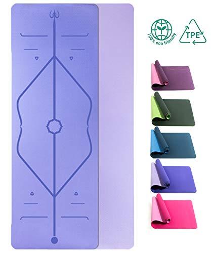 Yogamatte Rutschfeste Gymnastikmatte für Yoga TPE ist Rutschfest ECO Freundlichen Material Das SGS Zertifiziert , Hypoallergen und Hautfreundlich Fitnessmatte für Yoga Pilates Fitness, Hellpurpurn