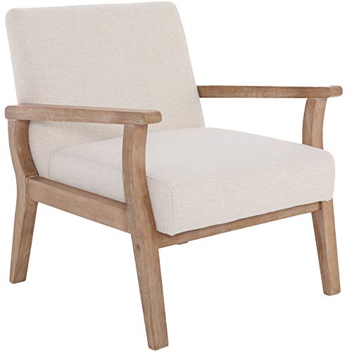 Mid Century Armchair with Wood Frames, Beige Linen Upholstered Living Room Chair, for Living Room, Bedroom, Ivory
