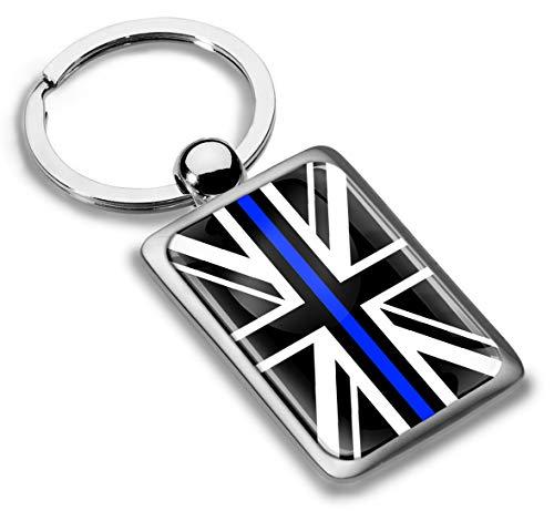 Skino 3D Metaal Dunne Blauwe Lijn UK Vlag Unie Jack Sleutelhanger Sleutelhanger Accessoires Mannen Vrouwen Sleutelhanger Gift KK 238