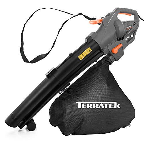Terratek Leaf blower Garden Vacuum and Shredder, 35L Leaf Collection Bag, 3000W 10m Cable Lightweight Design, Leaf Vacuum, 10:1 Shredding Ratio