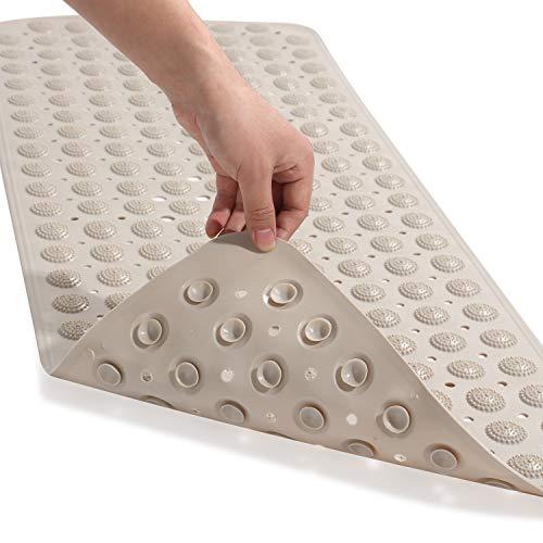 Genenic - Alfombrilla para bañera de baño, 71 x 35 cm, antideslizante, redonda, con ventosas de punto de masaje, agujeros de drenaje, para casa, hotel, inodoro, alfombra para...