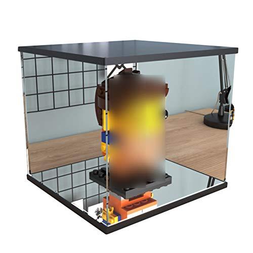 LM-Coat rack XINGLL Acrílico Vitrina Transparente, Caja Prueba Polvo, Figuras Coleccionables, Modelo Construcción Muñecas, Cubo Protección Almacenamiento Coche, Base Espejo, Autoensamblaje
