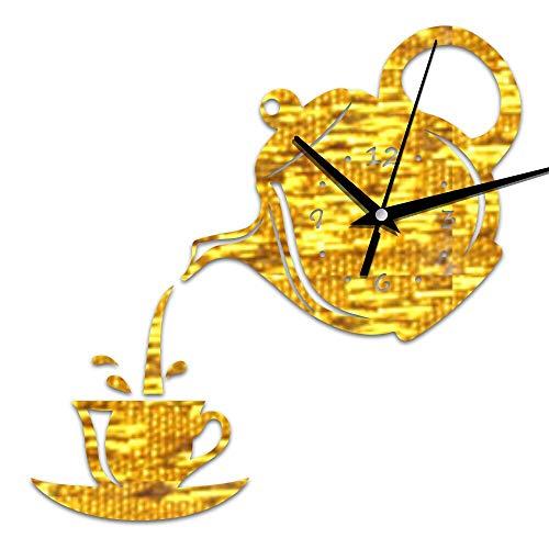 HUIJK Reloj de Pared Creativo Bricolaje Acrílico Copa de Café Tetera 3D Pared Clock Decorativo Cocina Relojes de Pared Sala Sala Comedor Decoración Casa Reloj Reloj