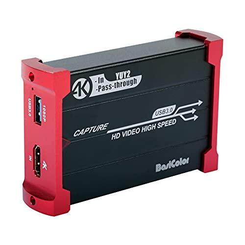 Basicolor キャプチャーボード HDMI USB3.0 1080P 60FPS、Switch PS4 Xbox Wii U ウェブカメラ PS3に対応、...