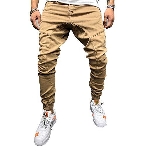 Loeay Pantalons pour Hommes Zipper Décoration Épissage Harem Joggers Pantalons Pantalons de survêtement Solides Léger Pantalon Cargo extérieur Pantalon de Travail Kaki XXL