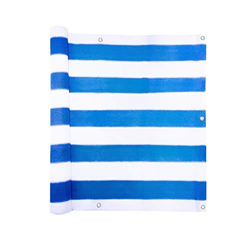 jarolift Balkonbespannung, Balkon Sichtschutz Windschutz Sonnenschutz Balkon-Verkleidung, Atmungsaktiv, 300 x 90cm (16 Ösen) blau - Weiss