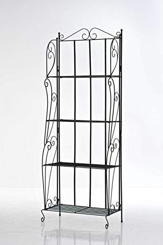 CLP LEA stabiles Standregal im Landhausstil | Klappbares Robustes Eisenregal mit 4 Regalböden erhältlich, Farbe:schwarz