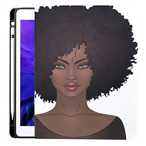 Ipad Pro 12.9 Case 2020 & 2018 with Pencil Holder Two African American Pretty Girls Glossy Smart Cover Ipad Case, Supports 2nd Gen Pencil Charging,case for 2020 Ipad Pro 12.9 Cover with Auto Sleep/wa