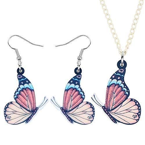 ZWwei Acrílico Mariposa Joyería Fija El Insecto Grande Pendientes Animal Collar For Las Mujeres Niñas Regalo De La Decoración (Color : Pink)