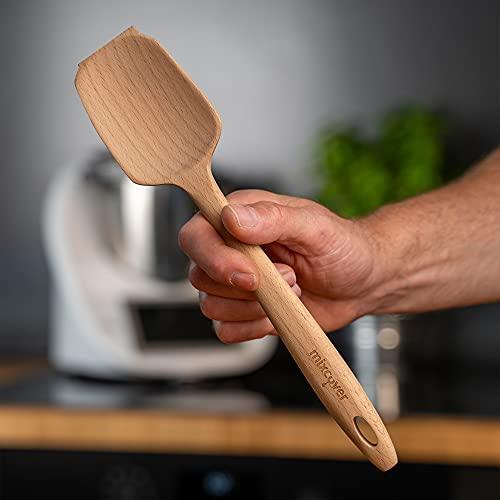 Mixcover nachhaltiger Holz-Spatel passend für Thermomix TM 5 TM 6 TM 31 Ersatz für Drehkellenspatel Teigschaber Rührlöffel Kochlöffel Vegan