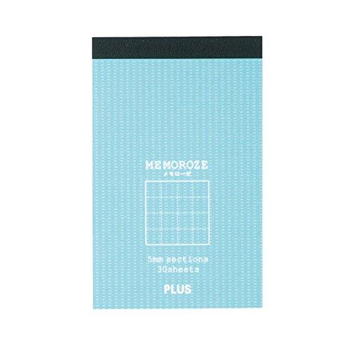 プラス メモ帳 メモローゼ カード横 方眼罫 ミントブルー 77-783