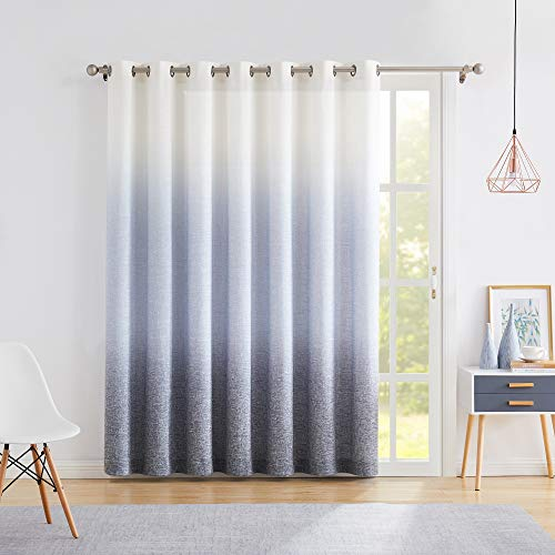 """Central Park Ombre Window Door Curtain 100"""" Extra Wide Linen Ombre Gradient Print on Rayon Blend Fabric Treatment for Sliding Patio Door with 14 Grommets,Cream White to Navy Blue,100"""" x 84"""", 1 Panel"""