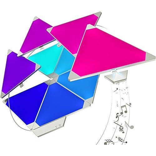 Nanoleaf Aurora Smarter Kit 15 Pannelli LED RGBW, 16.7 Millioni di Colori, 2 W, con Modulo Aurora Rhythm