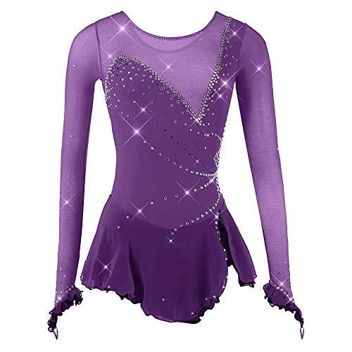 Rmckj-M Eiskunstlaufkleid Damen Mädchen Eislaufkleid Lila Stretchgarn Hohe Elastizität Wettkampf Eislaufbekleidung Kristall/Strass,Purple-S