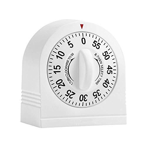 Cronômetro de cozinha Cronômetro mecânico de 60 minutos Cronômetro de cozinha Lembrete de cozimento Despertador Tempo Gerente Despertador Branco para aprender cozinha (cor: branco, tama