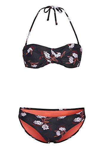 Chiemsee Damen Bikini, Black/Red AOP, 38/A/B