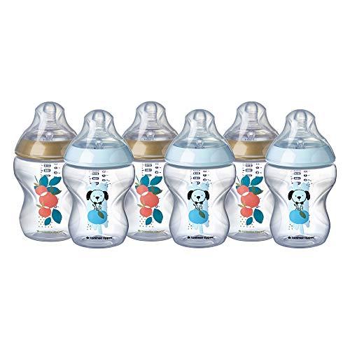 Tommee Tippee Closer to Nature Babyflaschen, brustähnlicher Sauger mit Anti-Kolik-Ventil, 260 ml, 6er-Pack, dekoriert (Farben sortiert)