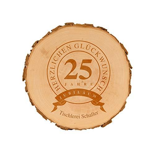 4you Design Baumscheibe zum Firmenjubiläum mit Gravur - personalisierte Holzscheibe - Geschenkidee - naturbelassen - Dekoration - Wanddeko