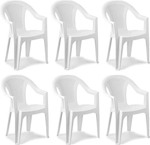 MAURY S Set Sedie da Giardino Kora in Polipropilene 55 X 54 X 82 Cm (Bianco, 6)