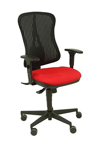 Silla Agudo sincro malla negra asiento tela rojo brazos regulables