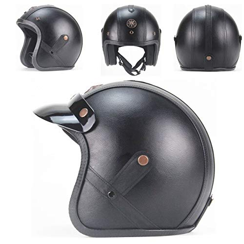 Dgtyui Casco in pelle PU Casco moto 3/4 Casco moto retrò con occhiali Tesa staccabile - Pelle nera XM