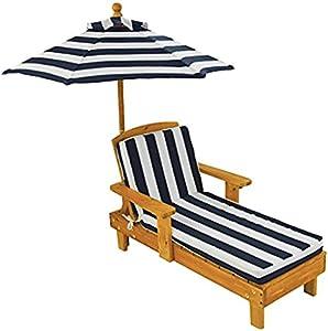 KidKraft 00105 Sedia a sdraio in legno con ombrellone per bambini, mobili per giardino e per esterno - Blu Navy