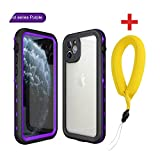 Auangao 防水ケースFor iphone 11プロ最大X XR XS MAX耐震スイミングダイビングCoqueカバー電話水中ケース-Purple with Strap-for iP11 Pro(5.8)