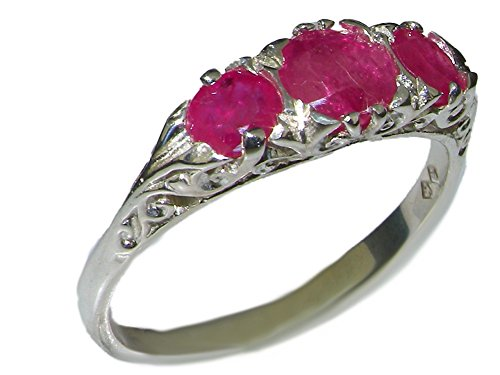 VINTAGE style Solid 10ct White Gold Natural Ruby Trilogy Ring - Size M