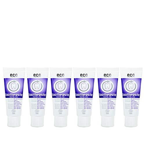 ECO COSMETICS Schwarzkümmel Zahncreme (6 x 75 ml), Bio Zahnpasta, Vegan, Fluoridfrei, Naturkosmetik