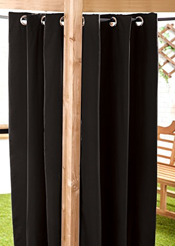Gardenista Water Resistant Outdoor Eyelet Curtain | Private Areas for Patio, Gazebo or Balcony | Windproof and Sun Protection | Durable and Easy Clean | 55' x 96' (Black)