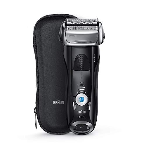 Braun Series 7 7842s - Afeitadora Eléctrica Hombre para Barba, en Seco y Mojado, Recortadora de Precisión Integrada, Máquina de Afeitar Recargable e Inalámbrica con Funda para Viaje, Color Negro