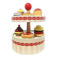 PEWETE 木製シミュレーションふりプレイキッチンケーキラックおもちゃ子供用プラシセット子供プレイゲーム