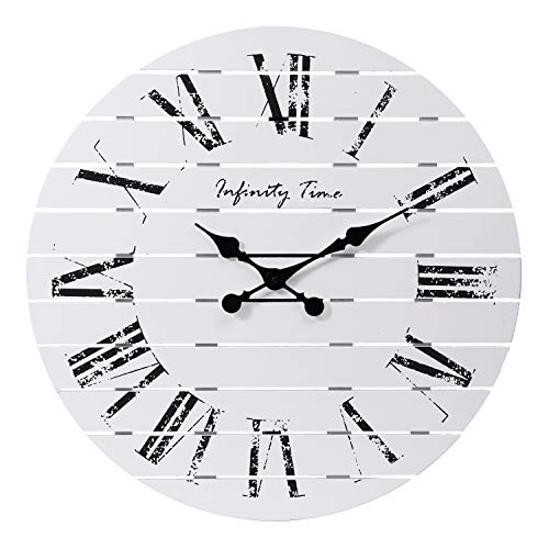 Infinity Time 24Inch Farmhouse Whitewashed Shiplap Planks Pallet Solid Barn Wood Wall Clock with Roman Numberals