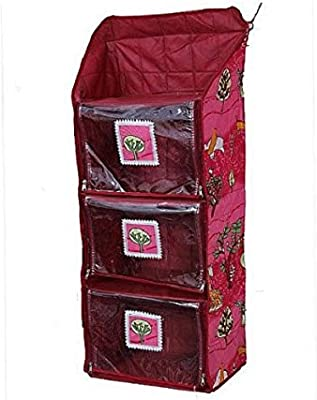 Kuber Industries Hanging Baby Almirah Four Cabinet For Kids (Maroon Nitting Print)