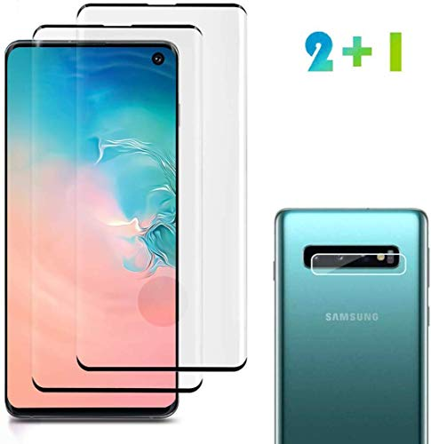 [2 Pack] Galaxy S10 Screen Protector Tempered Glass Include a Camera Lens Protector,Glass Screen Protector with Bubble Free 9H Hardness Full Coverage for Samsung Galaxy S10… (Clear)