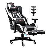 Gaming Chair Ergonomic High Back Computer Chair Video Game Chair Backrest & Seat Height Adjustable Office Chair with Headrest & Lumbar Swivel Recliner Telescopic Pedal PU Desk Chair for Teens Adult