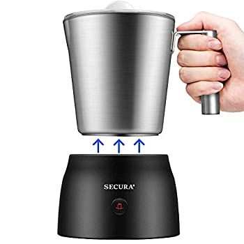 Secura Detachable Milk Frother 17oz Electric Milk Steamer Stainless Steel Automatic Hot/Cold Foam and Hot Chocolate Maker with Dishwasher Safe 120V